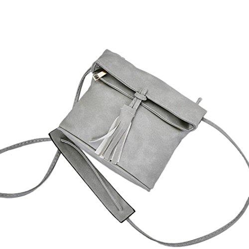Longra Moda donna in pelle PU Moda nappa Hasp Lock Decorazione singola spalla Slant Bag Grigio