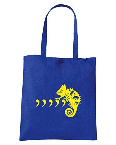 T-Shirtshock - Borsa Shopping FUN1032 commachameleon fullpic artwork 1 (2) Blu Royal
