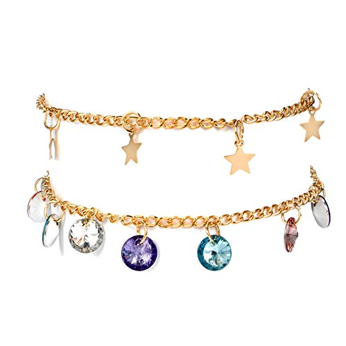 0Miaxudh Cavigliera, 2 pezzi/set Boho Women Star Colorful Charm strass Sandalo Anklet Ankle Bracelet Golden