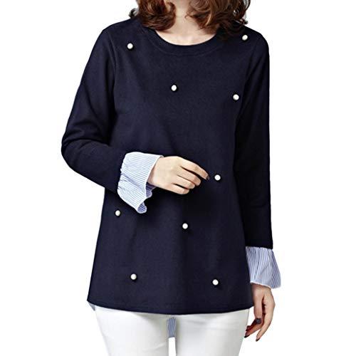 IZHH Plus Size Damen Tops Casual Langarm Lose T-Shirt Blusen Mode Sweatshirt NäHen GefäLschte Zweiteilige Perle Pullover(Marine,XXXX-Large)