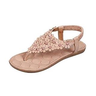 VJGOAL Damen Sandalen, Frauen Mädchen böhmischen Mode Flache beiläufige Sandalen Strand Sommer Flache Schuhe Frau Geschenk (40 EU, R-Khaki)