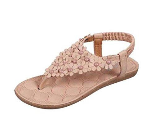 VJGOAL Damen Sandalen, Frauen Mädchen Böhmischen Mode Flache beiläufige Sandalen Strand Sommer Flache Schuhe Frau Geschenk (36 EU, R-Khaki)