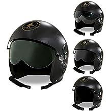 Widmann WDM04858–Disfraz para adulto de Elmo piloto de Jet de combate, color negro, talla única