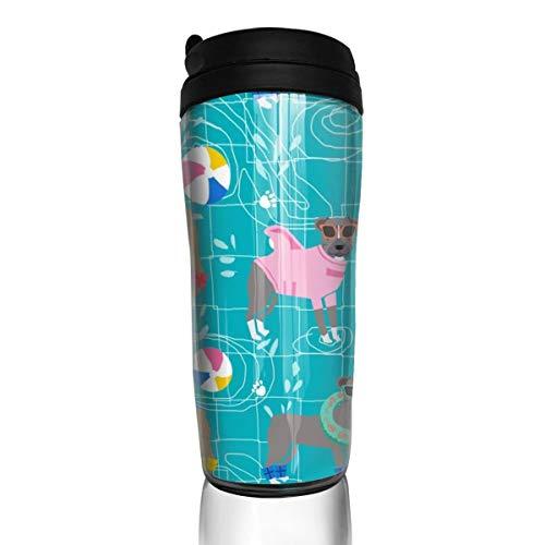 Pitbull 27376 Kaffeetasse, für Pool-Party, rosa Hunde, 340 ml, auslaufsicherer Klappdeckel, Wasserflasche, umweltfreundliches Material ABS