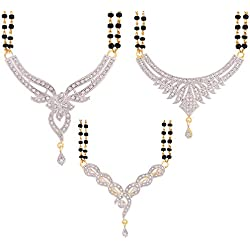 Zeneme Women's Pride American Diamond Gold Plated Mangalsutra Combo Pendant with Chain for Women