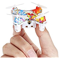 Virhuck CX-10D 2.4GHz Colorato Mini RC Quadcopter Drone, Tasca Nano Elicotteri, Altitudine Fissa Intelligente, 3D Flip, Una chiave Decollo/Atterraggio, Drone con Telecomando a LED - Multicolore