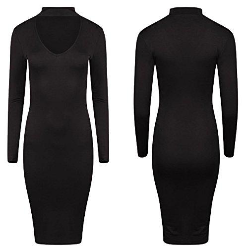 Comfiestyle - Robe - Moulante - Manches Longues - Femme Noir