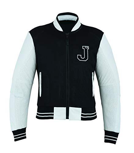 Jet giacca giubbotto moto pelle uomo estiva maglia protezioni traforata varsity (l (eu 50-52), nero)