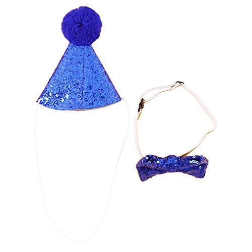 HENGSONG Hausgemachte Katze Hundebogen Kopfbedeckung Hut Geburtstag Kostüm Festliche Party Dress Up, Sapphire