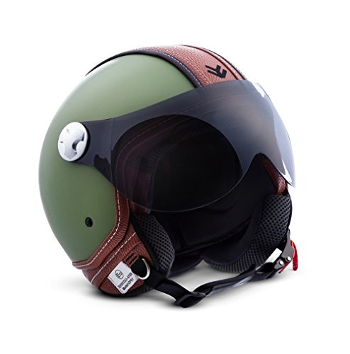 "Preisvergleich Produktbild ARMOR · AV-84 ""Vintage Deluxe Green"" (Grün) · Jet-Helm · Chopper Bobber Mofa Scooter-Helm Motorrad-Helm Roller · ECE certified · Visier · Click-n-Secure Clip · Tragetasche · M (57-58cm)"