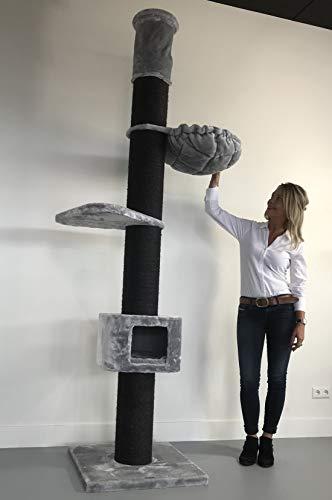 RHRQuality Kratzbaum Große Katze Stabil XXL Maine Coon Tower Box Blackline Hell Grau Deckenhöhe 235-255 cm mit 20cmØ Stämme. Katzenkratzbaum Speziell für Schwere Katzen. Deckenhoch
