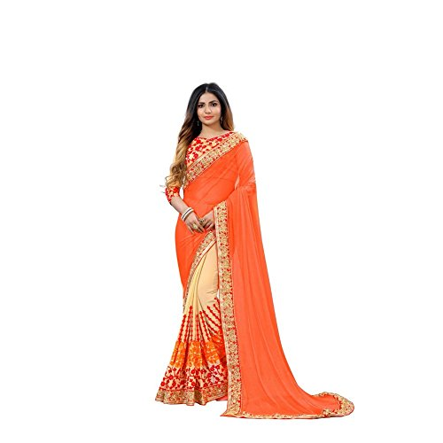 TexStile Women Lycra Orange Colour Saree With Blouse Pieces _SE_Orange_Chiku_Sari