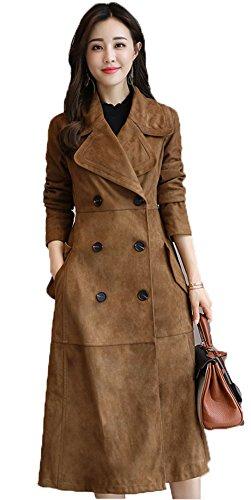 Die Frauen eleganten Revers lange Hülsen-dünner zweireihiger Deer Suede Langer Trenchcoat