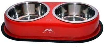 Ocean Wave Stainless Steel Dog and Cat Dinner Set, Red