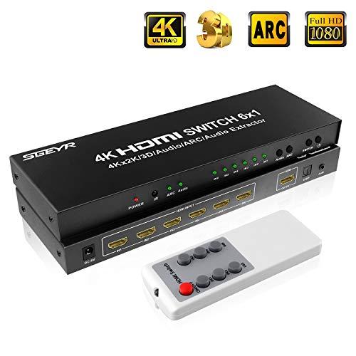 SGEYR 6x1 HDMI Umschalter 4K 6 Port HDMI Switch 6 In 1 Out HDMI Switcher Schalter mit Audio Extractor|3.5mm Audio und SPDIF Output|ARC Funktion| Unterstützung 4K 30Hz 3D 1080P HDMI 1.4 Audio-switch-6 Ports