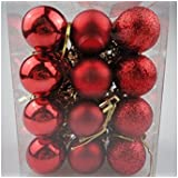SMARTBUYER 24pcs Christmas Decoration Hanging Red Balls Small Christmas Tree Decor Ball Bauble Hanging Home Xmas Party Ornament Decor