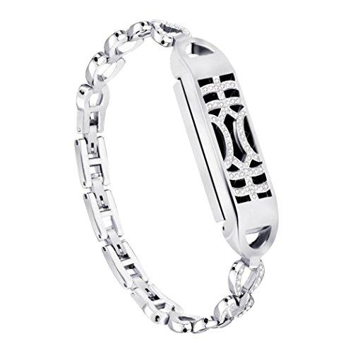 Kingko Uhrenarmband Fitness-Armband Silikon Ersatzband Armband für Fitbit Flex 2 Fitness-Band Zubehör (Silber)