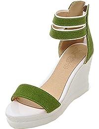 TAOFFEN Damen Fashion Plateau Keilabsatz Heel Flip Flops Sandals mit Zipper (34 EU, Light Blue)