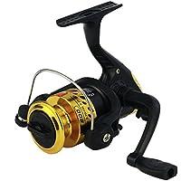Alftek Carrete de pesca para pesca con ruedas giratorias, amarillo, without wire/plating