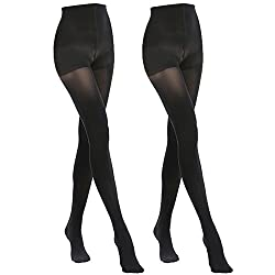 MANZI 2 Pairs 70 Denier Women's Tights Stretch Run Resistant Opaque Control Top Tights,2 Black,Large