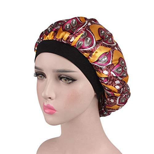 ZYCC Wide Band Satin Cap Schlafmütze, schlafender Hut-Krebs-Hut Chemo Hat passende Frauen für das Schlafen/Krebs/Chemo/Haar-Verlust (Gelber Kreis)