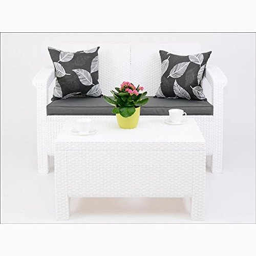 JUSTyou Corfu Sofa Couch Gartenbank + Tisch in Rattan-Optik Weiß Grau
