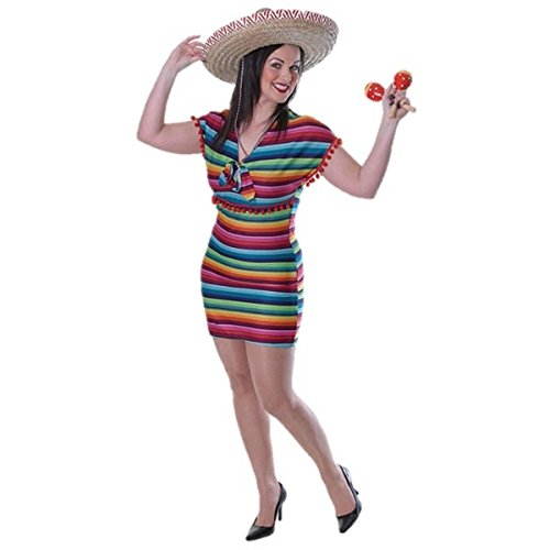 Damen mexikanischen Fancy Kleid Lady Festival Kostüm Sombrero Komplettes Outfit