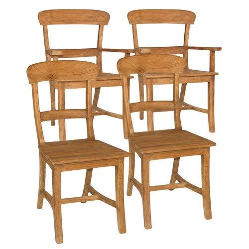 casamia Esszimmer Stühle Set Tanja je 2 Stück mit und ohne Armlehne Teakholz gebürstet unbehandelt Kissen ohne Sitzkissen