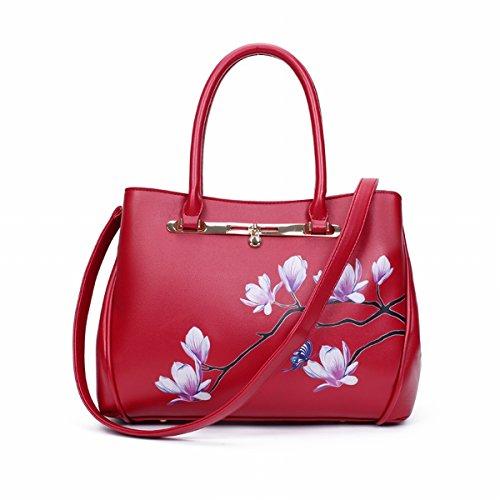 damen-tasche herbst-komplex nationalen uniform messenger messenger handtasche Schläge Rote Magnolie