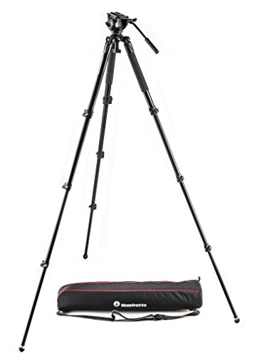 Manfrotto MVK500AQ Kit Treppiede Video a Gamba Singola in Alluminio e Testa 500, Nero/Antracite