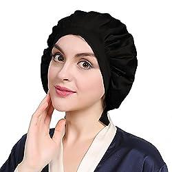 LilySilk Seide Schlafmütze Nachtmütze Kopfbedeckung mit klassischer und bequemer Form (Schwarz) Verpackung MEHRWEG
