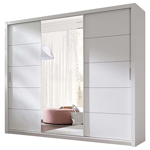 JUSTyou 250 Kleiderschrank Garderobenschrank Schwebetürenschrank 250x215x62 cm Weiß