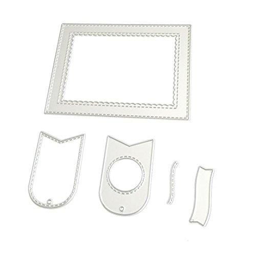 squarex Metall-Stanzformen (Stencils) für DIY-Scrapbooking, silberfarben, D