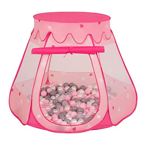 Selonis Baby Spielzelt Mit Plastikbällen Zelt 105X90cm/300 Bälle Plastikkugel Kinder, Pink:Perle-Grau-Transparent-Puderrosa