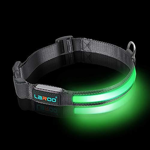 LaRoo LED-Hundehalsband USB Aufladbar, Nächtliche Sicherheits-Hundehalsband Länge Verstellbar, Nylonhalsband für Mittlere und Große Hunde -3 Mode L(45-63CM / 17.7