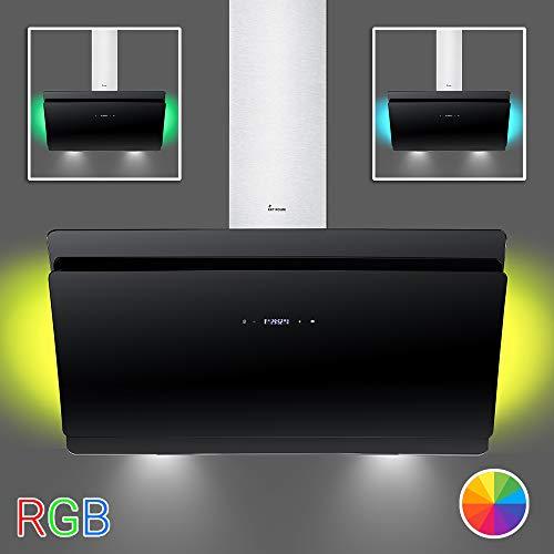 Dunstabzugshaube Wandhaube 90cm / kopffrei/RGB Ambiente Beleuchtung/Edelstahl schwarz/leise/KKT KOLBE