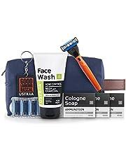 USTRAA Shave and Wash Kit - Gear 5 shaving razor (handle + blade) - Orange, Set of 4 blades, Cologne Soaps - Set of 3 Ammunition, Neem & Charcoal FW, Toilet Kit Bag, Key Chain