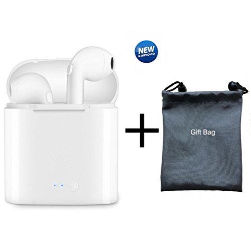 SailsON - Auriculares Bluetooth i7 TWS con funda de carga V4.1 + EDREDIn Ear Bluetooth Auriculares inalámbricos Deportivos Estéreo Auriculares Cancelación de Ruido In-Ear con Micrófono para iPhone X/8/7/7 Plus/6/6S Plus y Android Smartphones
