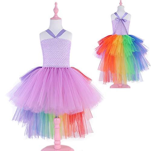 (Infant Mädchen Kinder Fee Phantasie Tutu Kleid Regenbogen Cosplay Party Kostüm Malloom, (18M-6T) Ärmelloses Rainbow Tail Tutu Rock Kleid)
