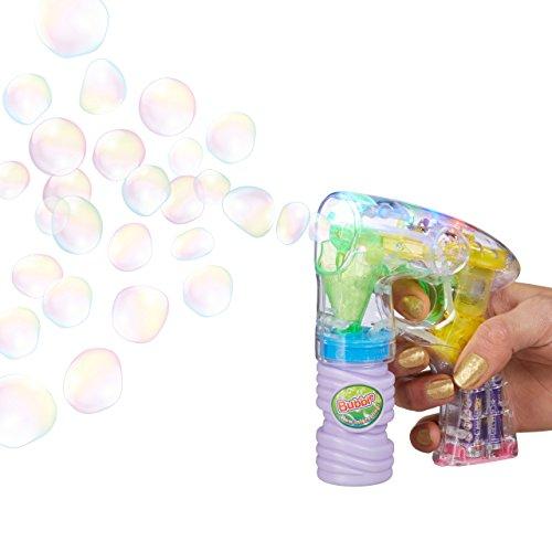 en-Pistole mit Seifenblasenlösung, inkl. Batterien, LED-Licht, handlich, für Party, Karneval, Fasching, HBT: 14,5 x 11,5 x 5 cm, transparent (Bubble Guns Für Hochzeiten)