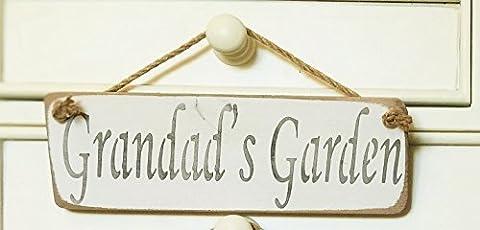 GRANDADS GARDEN SIGN - Grandpas Present Gift Hanging Solid Wood