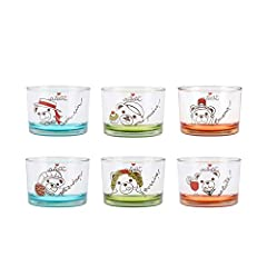 Idea Regalo - THUN Set 6 ciotole da tavola, vetro, 220 ml, h 6 cm, multicolor, Teddy on the road