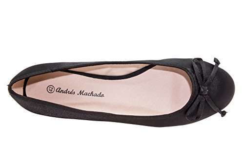 Andres Machado - TG104 - Klassische Ballerinas mit Schleife. RasoNoir.