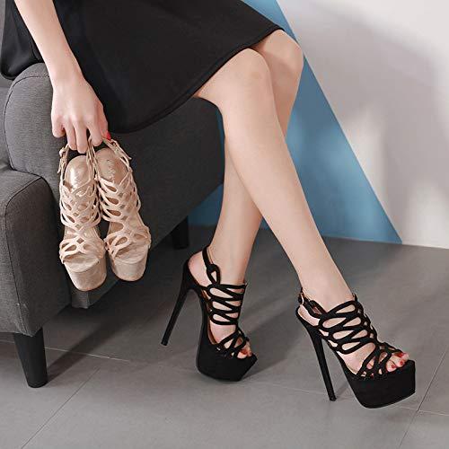 XMIMI Sexy schwarz HASS Himmel hoch Artefakt Modell High Heel Stiletto wasserdichte Plattform 16cm Super High Heel Sandalen Oxford-high Heel-plattform