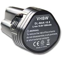 vhbw Akku LI-ION 1500mAh 10.8V schwarz black passend für MAKITA BMR102 etc. ersetzt 194550-6, 194551-4, BL1013, 195332-9, BL1014