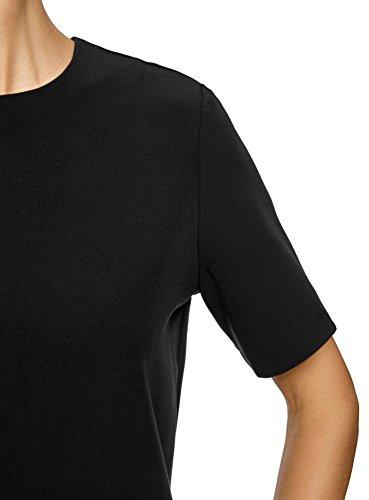 oodji Collection Damen Gerade Geschnittenes Kleid mit Reißverschluss Schwarz (2900N)