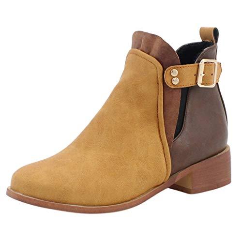 Botines Mujer Planos Otoño Botas Piel Tacón Clásicas Botas Calientes de Cremallera Lateral Zapatos...