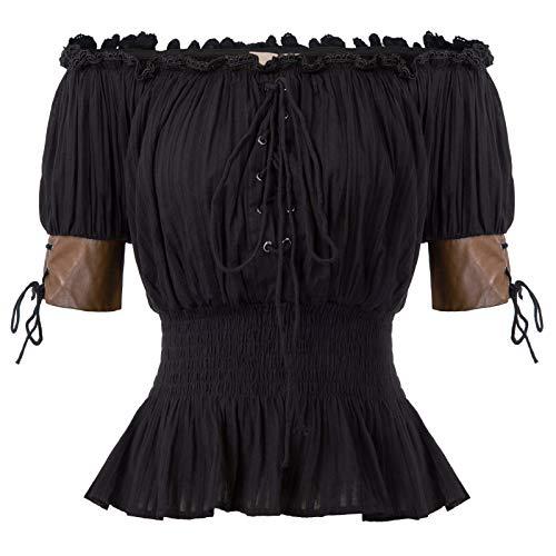 Belle Poque Retro Damen Gothic Victorian Schulterfrei Rüschen Tops Schwarz Größe 2XL (Mittelalterliche Kostüm Korsett)