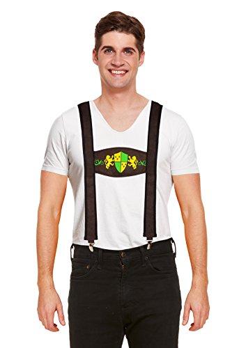 Emmas Garderobe Männer Oktober Kostüm - Enthält weißes Hemd mit Lederhosen - Festliche Deutsch Outfit für Halloween, Partys oder Themenveranstaltungen - Made UK Größen (Men: One Size, ()