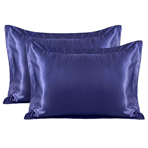 Treely seidig weicher Luxus Satin Kissenbezug Set von 2 Kissenbezügen Haar Gesicht Haut Umschlag Verschluss 2Pcs-Standard(20